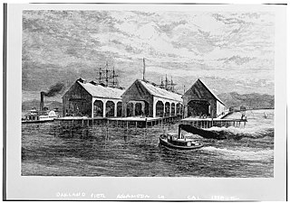 Oakland Long Wharf Dock in Oakland, California and west coast terminus of the first transcontinental railroad