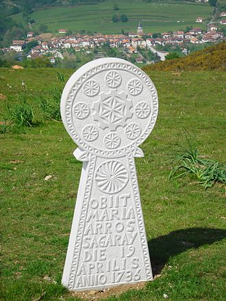 Basque mythology - A reproduction of a Hilarri, a Basque gravestone, from 1736 with commonly found symbols. Tombstone in English: Maria Arros Sagaray died on the 19th day of April, 1736