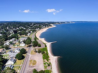 West Haven, Connecticut - Ocean Ave Aerial with Bradley Point in view, taken near South Street