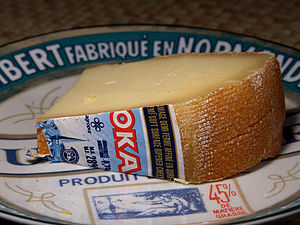 Canadian cheese - Oka cheese is a semi-soft washed rind cheese that was originally manufactured by Trappist monks located in Oka, Quebec, Canada.