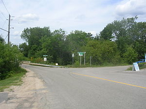Ontario Highway 534 - Highway 534 in Restoule, at the Restoule River bridge
