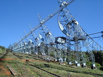 Radio telescope - The Ooty Radio Telescope in south India, a 530-metre (1,740 ft) long and 30-metre (98 ft) wide cylindrical paraboloid antenna that observes at a frequency of 320 MHz.