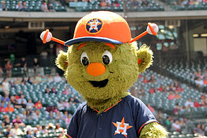 Orbit (mascot) - Orbit entertains fans at Minute Maid Park in March 2014