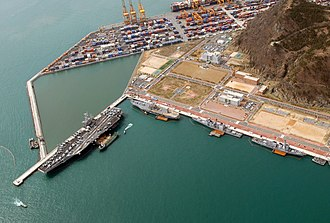 Port of Busan - Part of Port of Busan container terminal and the Naval base Oryuk-Do