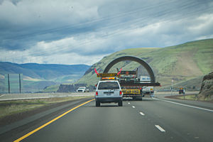 Oversize load - A rear view of an oversize load on Interstate 84 East near The Dalles, Oregon