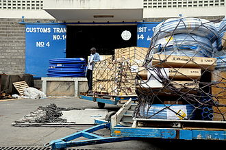 Oxfam - Oxfam relief supplies outside the Siginon warehouse in Nairobi, Kenya.
