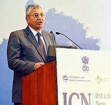 P.P. Chaudhary delivering the inaugural address at the Plenary Session of the three-day International Competition Network Annual Conference 2018 (ICN2018), organised by the Competition Commission of India, in New Delhi.jpg