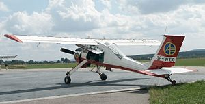 Polish Aero Club - The most typical aircraft of the Polish Aero Club - a multipurpose PZL-104 Wilga of the regional Aeroklub Kielecki. The AP logo is well visible on a rudder