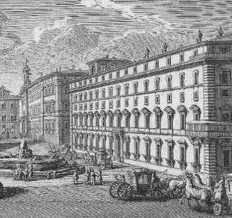 Palazzo Chigi - The Palazzo Chigi in an 18th-century etching by Giuseppe Vasi