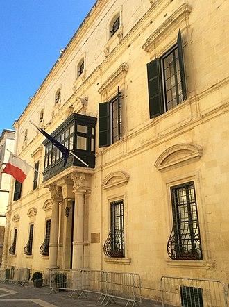 Palazzo Parisio (Valletta) - Front façade of Palazzo Parisio