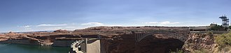 Glen Canyon Dam - Panorama of Glen Canyon Dam showing Lake Powell, Glen Canyon Dam and Carl Hayden Visitor Center.