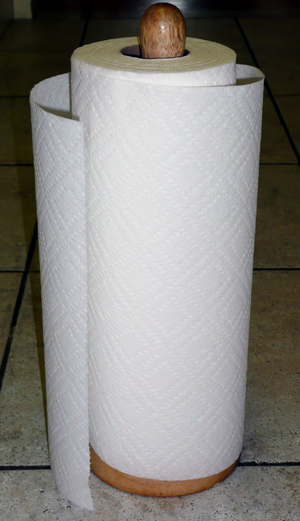Paper towel - A roll of paper towels.
