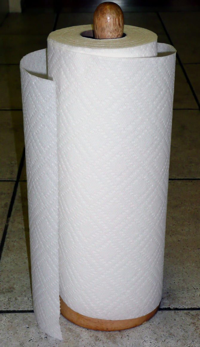 Paper towel roll on stand