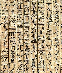Bagian dari Papirus Ani menunjukkan hieroglif kursif.