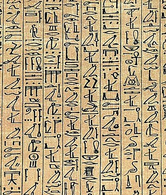 Cursive hieroglyphs - A section of the Papyrus of Ani showing cursive hieroglyphs.