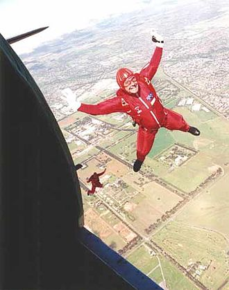Parachute Training School (Australian Army) - A parachute rigger during a jump