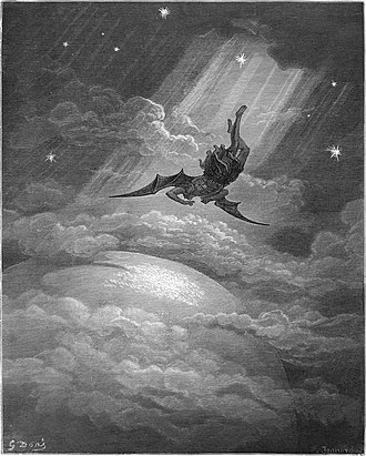 Hubris - Illustration for John Milton's Paradise Lost by Gustave Doré (1866). The spiritual descent of Lucifer into Satan is one of the most famous examples of hubris.