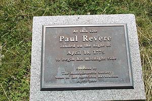 Paul Revere - Paul Revere landing site marker, Charlestown waterfront