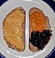 Peanut butter, marmalade, and blackberry jam on toasted German rye bread - Massachusetts.jpg