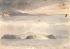 Pedra Branca (Tasmania) - An artist's impression of Pedra Branca and Eddystone, 1823.