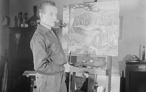Edwin Holgate - Edwin Holgate painting in his workshop, Montreal, 1940