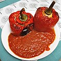 Peppers stuffed with minced meat with tomato sauce in Poznan.jpg