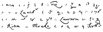 A facsimile of part of the first entry in the diary Pepys diary shorthand.png