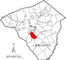 Map of Lancaster County, Pennsylvania highlighting Pequea Township