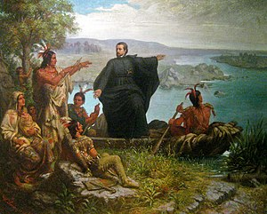 Michigan - Père Marquette and the Indians (1869), Wilhelm Lamprecht
