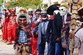 """Personas con trajes tradicionales y màscaras de madera en el Festival """"Xantolo"""" 2013..JPG"""