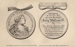 Peter Jones (missionary) - Medal awarded to Peter Jones by King William IV, which it was customary to receive for Indian chiefs in Upper Canada