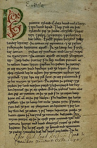 Old English literature - The Peterborough Chronicle, in a hand of about 1150, is one of the major sources of the Anglo-Saxon Chronicle; the initial page