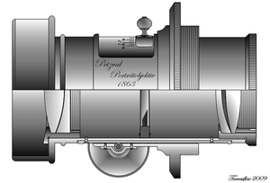 History of photographic lens design - Cutaway drawing of an early photographic lens design, the Petzval Portrait