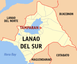 Map of Lanao del Sur with Tamparan highlighted