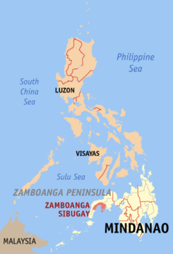 Map of the Philippines with Zamboanga Sibugay highlighted