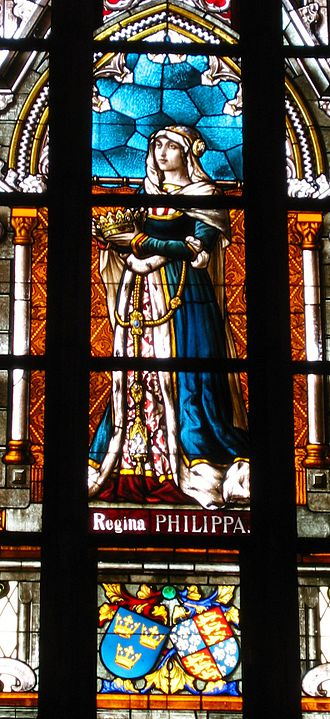 Philippa of England - Philippa as imagined and painted by Swedish artist Reinhold Callmander in the 1890s on a window above her grave at Vadstena