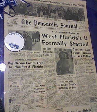 University of West Florida - A 1965 edition of the Pensacola Journal announcing the beginning of UWF. It is located on the bottom floor of the library.