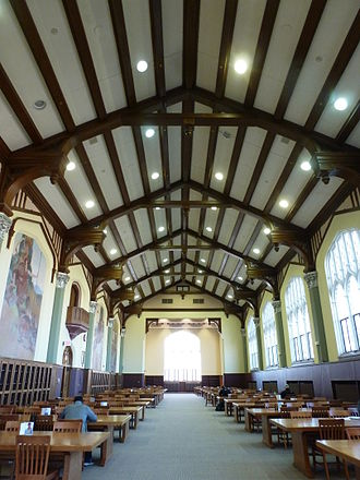 "Hale Library - The ""Great Room"", one of the oldest parts of the library. On the left side of the picture, the murals by David Hicks Overmyer are visible."