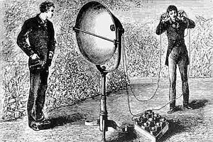 Free-space optical communication - A photophone receiver and headset, one half of Bell and Tainter's optical telecommunication system of 1880
