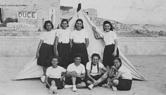 Members of the Piccole Italiane, an organization for girls within the National Fascist Party in Italy Piccole Italiane.jpg