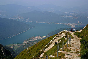 Monte Generoso - View to the north from Monte Generoso showing Lake Lugano and Melide