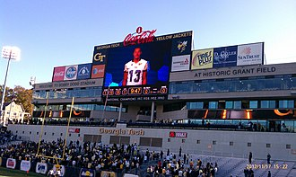Tevin Washington - Washington on big screen at Bobby Dodd Stadium on Senior Day, November 17, 2012