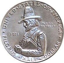 Pilgrim tercentenary half dollar commemorative obverse.jpg