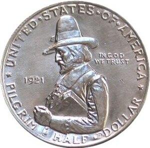 Pilgrim Tercentenary half dollar - Image: Pilgrim tercentenary half dollar commemorative obverse