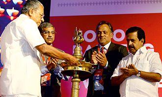 Pinarayi Vijayan - Image: Pinarayi Vijayan inaugurating ESAF Small Finance Bank at Thrissur