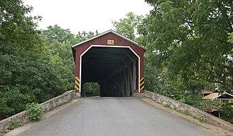 Pinetown Bushong's Mill Covered Bridge - Image: Pinetown Bushong's Mill Covered Bridge Approach 2913px