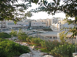 Pisgat Ze'ev - View of Pisgat Ze'ev Mall (left) and Community Center (right foreground) on Moshe Dayan Boulevard