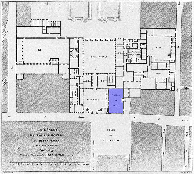 Plan of the Palais-Royal in 1679 showing the location of the Paris Opera's theatre (in blue) Plan général du Palais-Royal 1679 (Opera in blue) - Gourret 1985 p42.jpg