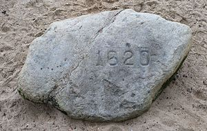 Plymouth Rock - Plymouth Rock, inscribed with 1620, the year of the Pilgrims' landing in the Mayflower