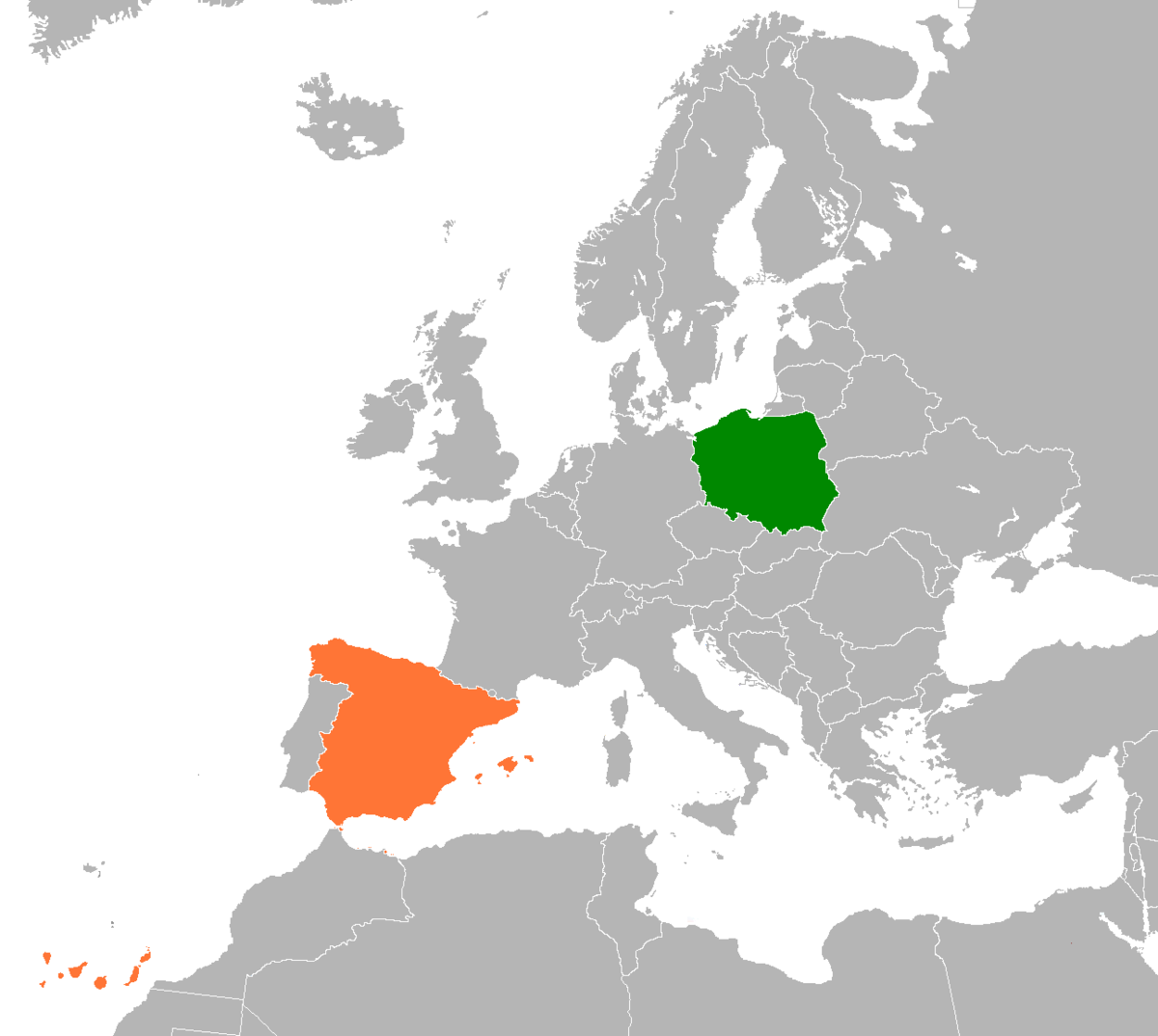 Map Of The World Spain.Poland Spain Relations Wikipedia